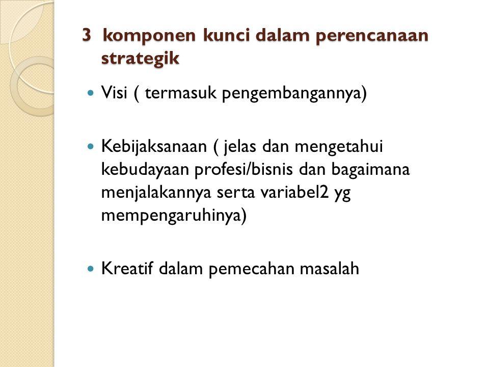 3 komponen kunci dalam perencanaan strategik Visi ( termasuk pengembangannya) Kebijaksanaan ( jelas dan mengetahui kebudayaan profesi/bisnis dan bagaimana menjalakannya serta variabel2 yg mempengaruhinya) Kreatif dalam pemecahan masalah