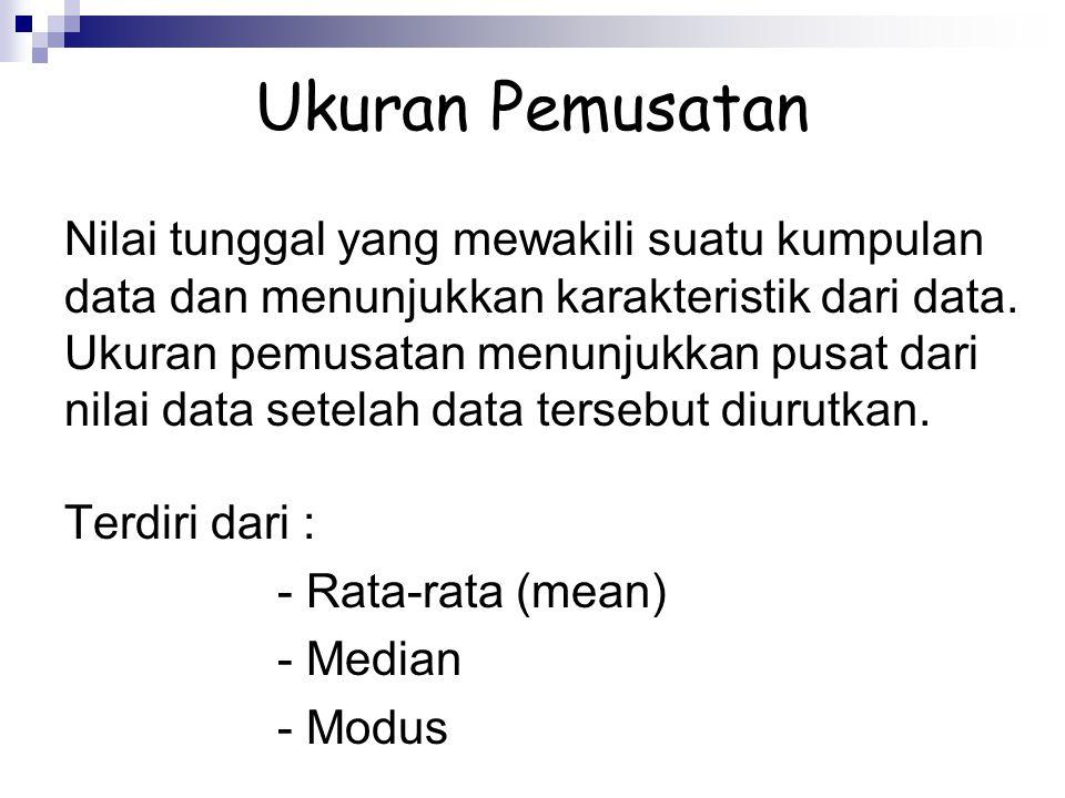 Ukuran Pemusatan Nilai tunggal yang mewakili suatu kumpulan data dan menunjukkan karakteristik dari data. Ukuran pemusatan menunjukkan pusat dari nila