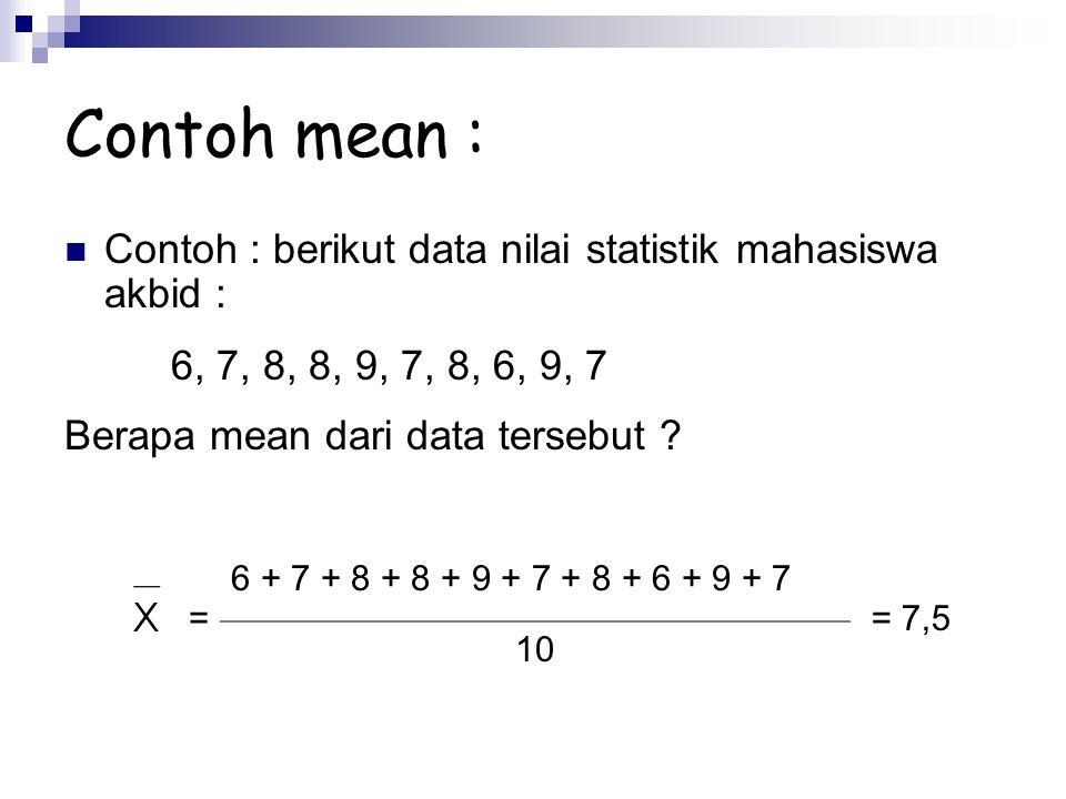 Contoh : berikut data nilai statistik mahasiswa akbid : 6, 7, 8, 8, 9, 7, 8, 6, 9, 7 Berapa mean dari data tersebut ? = 6 + 7 + 8 + 8 + 9 + 7 + 8 + 6