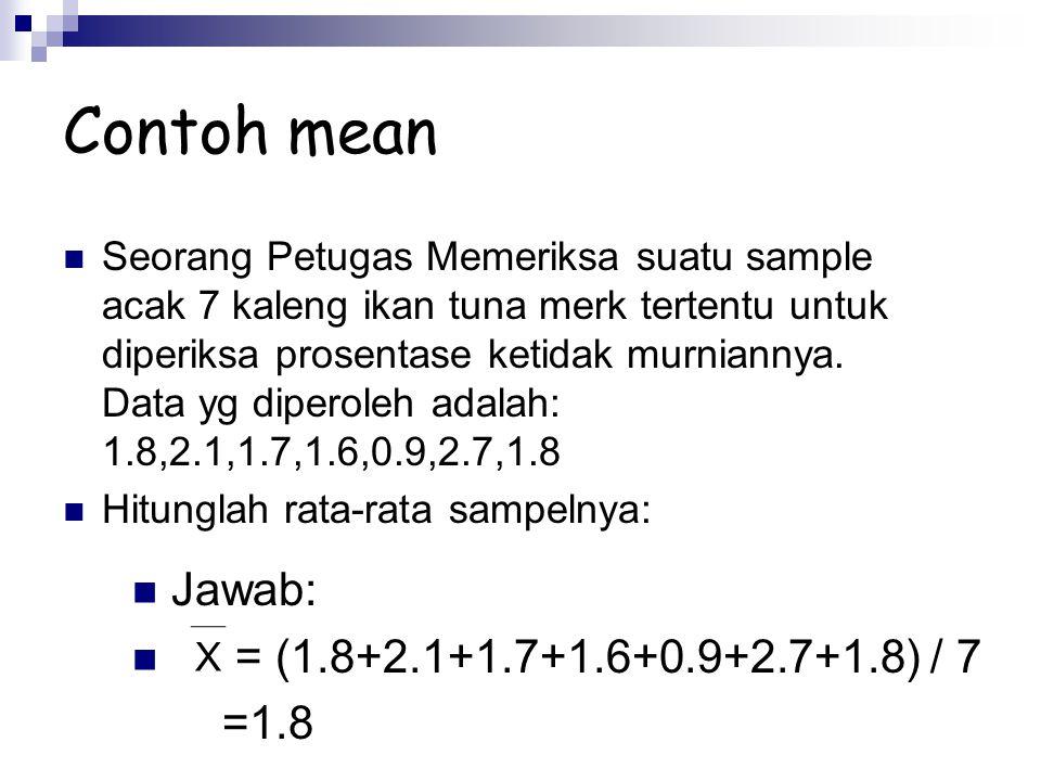 Contoh mean Seorang Petugas Memeriksa suatu sample acak 7 kaleng ikan tuna merk tertentu untuk diperiksa prosentase ketidak murniannya. Data yg dipero