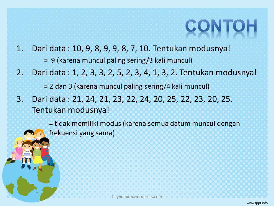 Modus (M o ) adalah nilai yang paling sering muncul yaitu nilai- nilai yang memiliki frekuensi paling tinggi  Modus Data Tunggal Pada data 4, 5, 6, 6, 6, 7, 7, 8, 8 modusnya adalah 6 karena 6 muncul paling sering (3 kali) dibandingkan nilai lainnya.