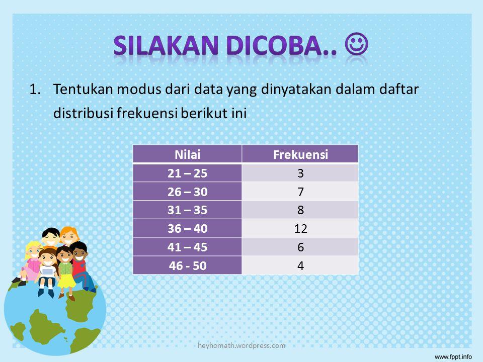 Tentukan modus dari data yang dinyatakan dalam daftar distribusi frekuensi berikut Berat Badan (kg)Frekuensi 40 – 495 50 – 5914 60 – 6916 70 – 7912 80 – 893 heyhomath.wordpress.com