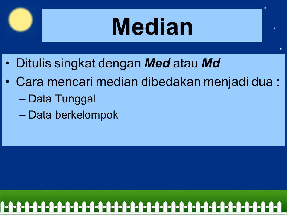Median Ditulis singkat dengan Med atau Md Cara mencari median dibedakan menjadi dua : –Data Tunggal –Data berkelompok