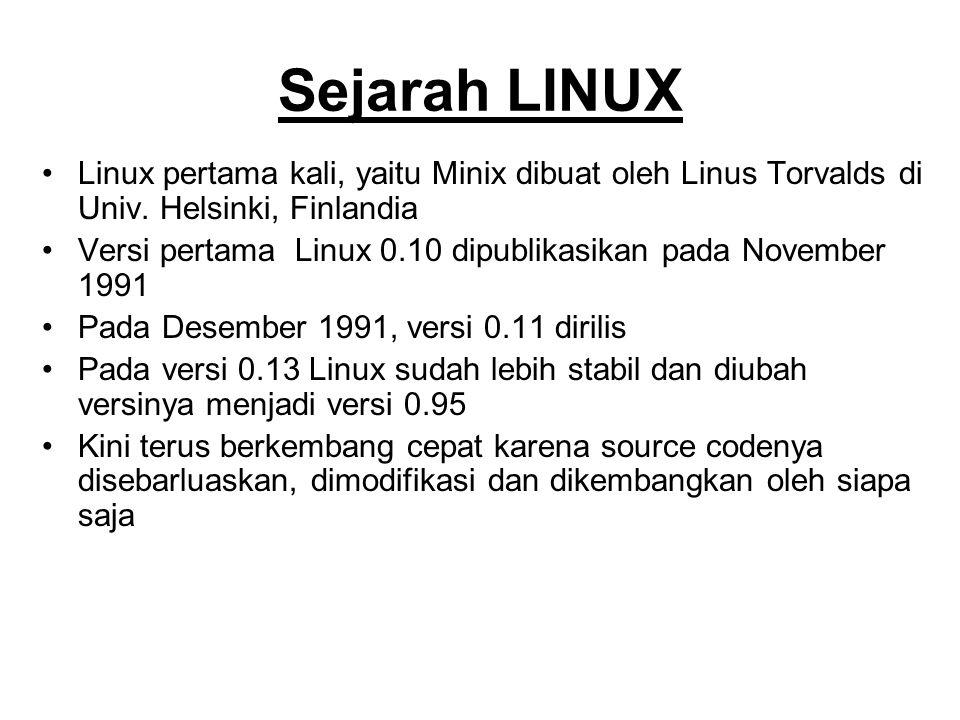 Sejarah LINUX Linux pertama kali, yaitu Minix dibuat oleh Linus Torvalds di Univ. Helsinki, Finlandia Versi pertama Linux 0.10 dipublikasikan pada Nov