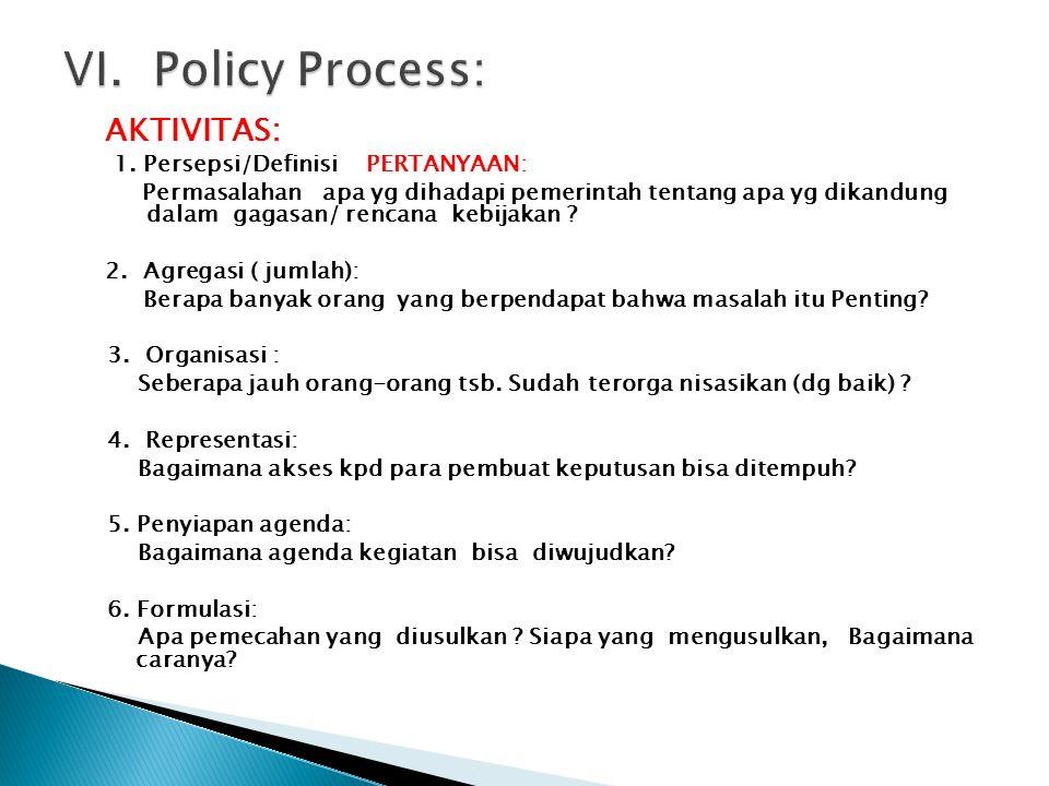 AKTIVITAS: 1. Persepsi/Definisi PERTANYAAN: Permasalahan apa yg dihadapi pemerintah tentang apa yg dikandung dalam gagasan/ rencana kebijakan ? 2. Agr