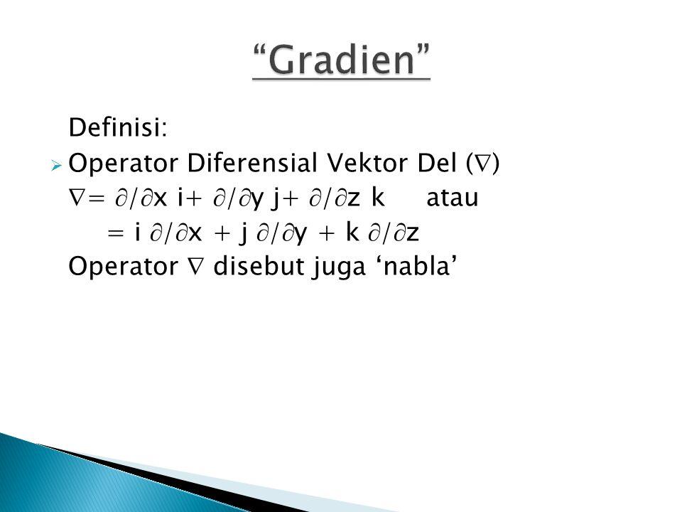 Definisi:  Operator Diferensial Vektor Del (  )  =  /  x i+  /  y j+  /  z k atau = i  /  x + j  /  y + k  /  z Operator  disebut juga 'nabla'
