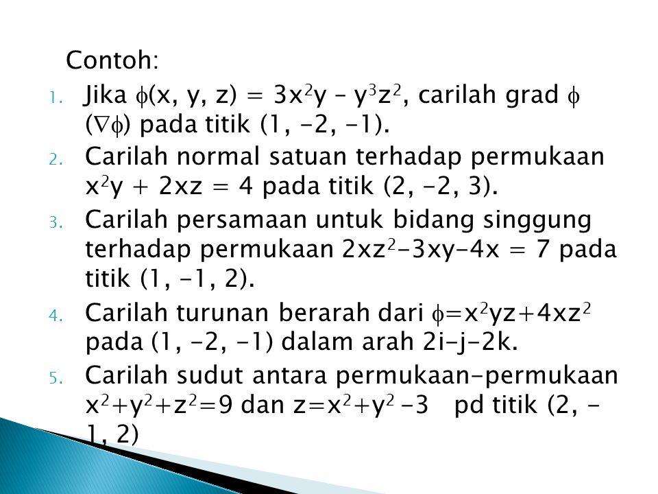 Contoh: 1.Jika  (x, y, z) = 3x 2 y – y 3 z 2, carilah grad  (  ) pada titik (1, -2, -1).
