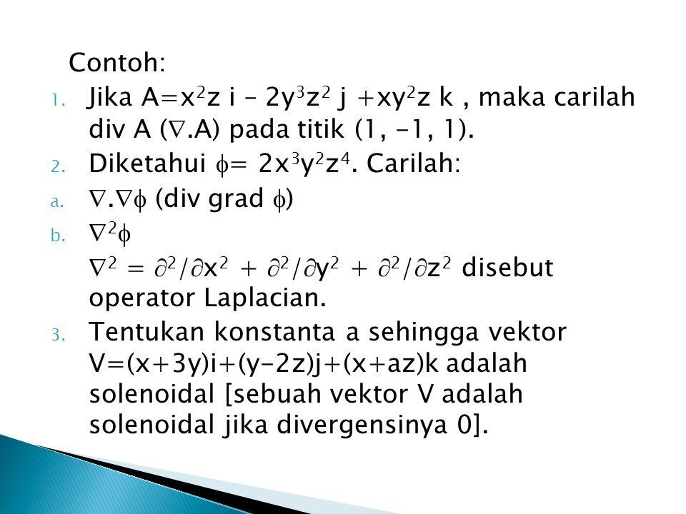 Contoh: 1.Jika A=x 2 z i – 2y 3 z 2 j +xy 2 z k, maka carilah div A ( .A) pada titik (1, -1, 1).