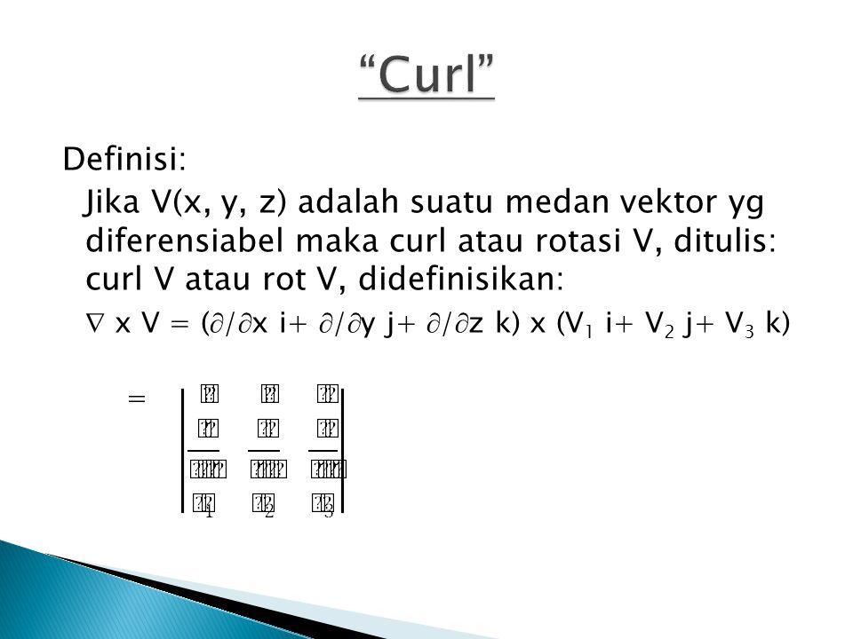 Definisi: Jika V(x, y, z) adalah suatu medan vektor yg diferensiabel maka curl atau rotasi V, ditulis: curl V atau rot V, didefinisikan:  x V = (  /  x i+  /  y j+  /  z k) x (V 1 i+ V 2 j+ V 3 k) =