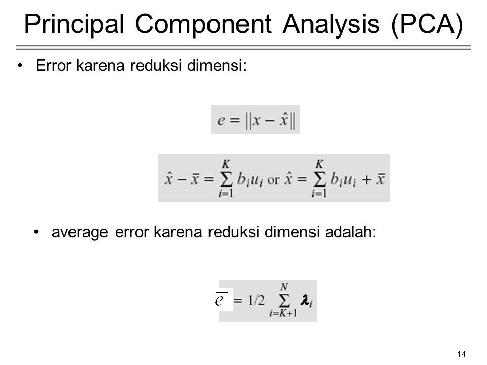 14 Principal Component Analysis (PCA) Error karena reduksi dimensi: average error karena reduksi dimensi adalah: