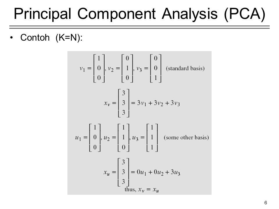 7 Principal Component Analysis (PCA) Information loss −Reduksi dimensi menyebabkan informasi hilang !.