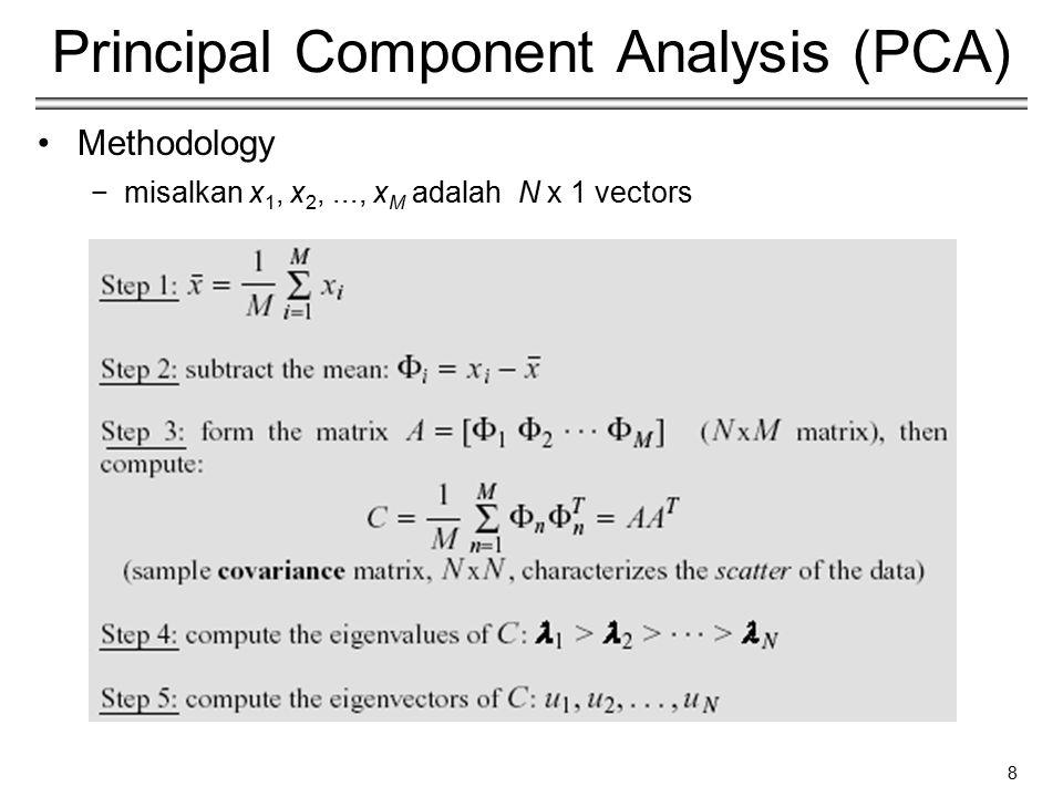 8 Principal Component Analysis (PCA) Methodology −misalkan x 1, x 2,..., x M adalah N x 1 vectors