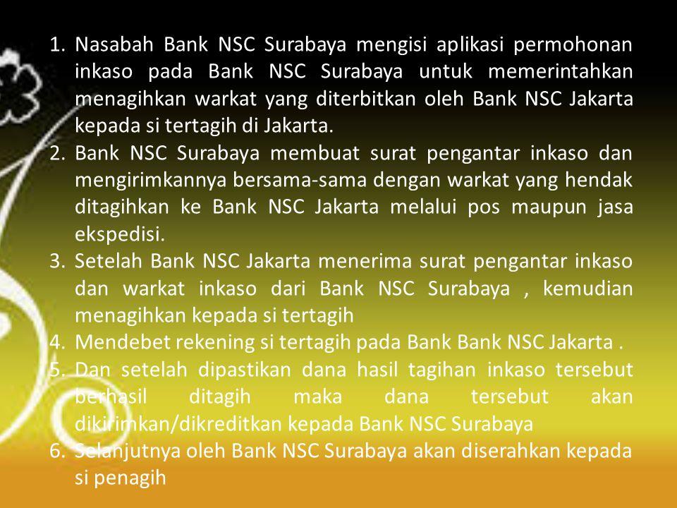 Flow chart inkaso dalam negeri (b) Principal (Penagih) di Surabaya Bank NSC Surabaya (Remitting Bank) Bank NSC Jakarta (Collecting Bank) Bank BENI Jakarta (Presenting Bank) 1 2 6 5 3 4 Drawee (Tertagih) di Jakarta 7 8