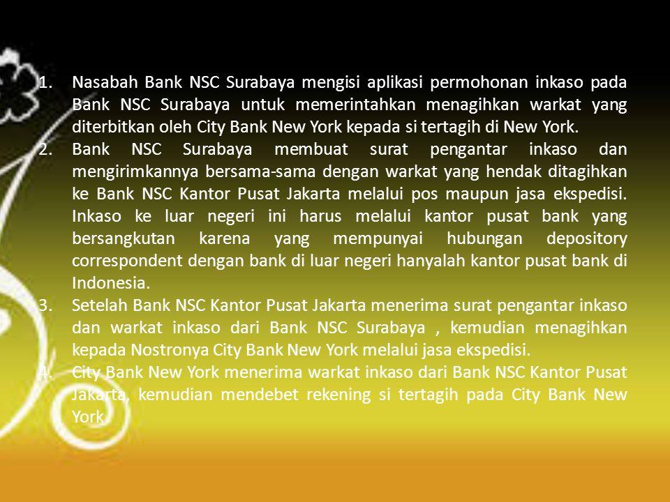 1.Nasabah Bank NSC Surabaya mengisi aplikasi permohonan inkaso pada Bank NSC Surabaya untuk memerintahkan menagihkan warkat yang diterbitkan oleh City