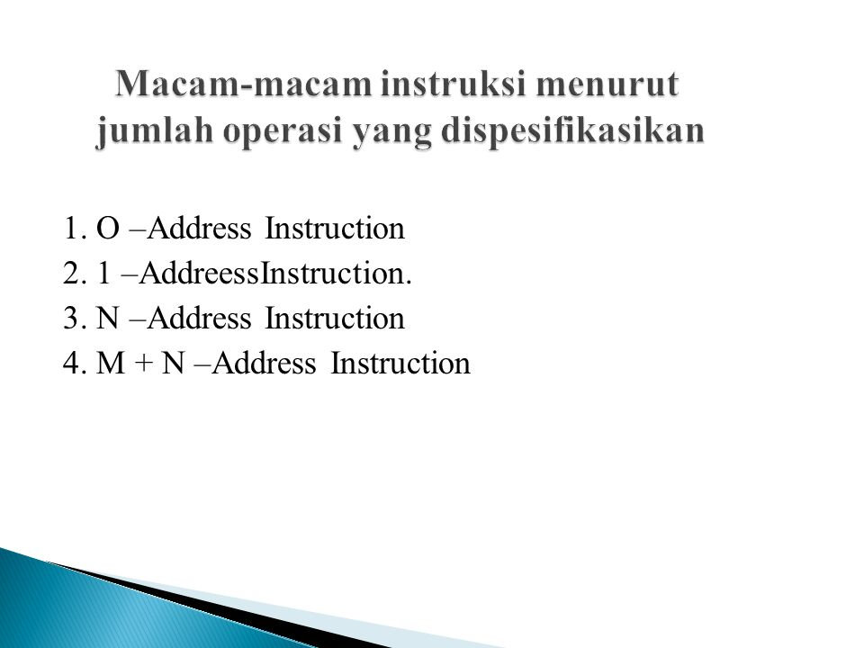1.O –Address Instruction 2. 1 –AddreessInstruction.