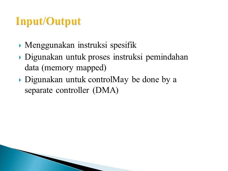  Menggunakan instruksi spesifik  Digunakan untuk proses instruksi pemindahan data (memory mapped)  Digunakan untuk controlMay be done by a separate