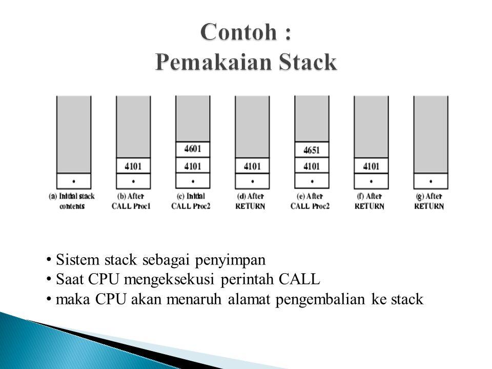 Sistem stack sebagai penyimpan Saat CPU mengeksekusi perintah CALL maka CPU akan menaruh alamat pengembalian ke stack
