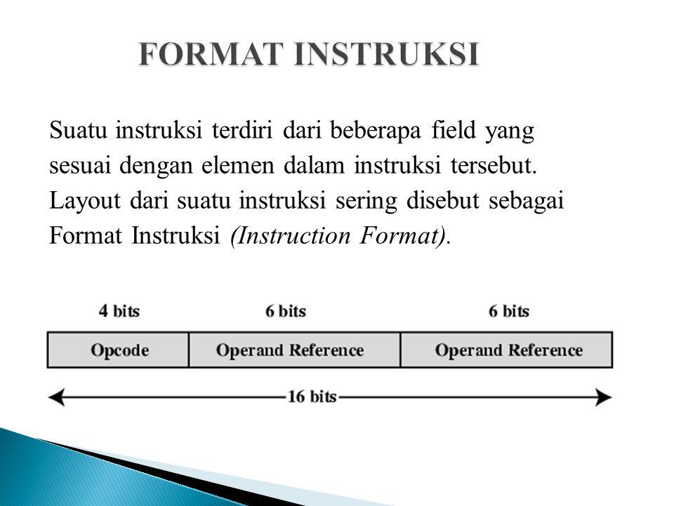 Suatu instruksi terdiri dari beberapa field yang sesuai dengan elemen dalam instruksi tersebut. Layout dari suatu instruksi sering disebut sebagai For