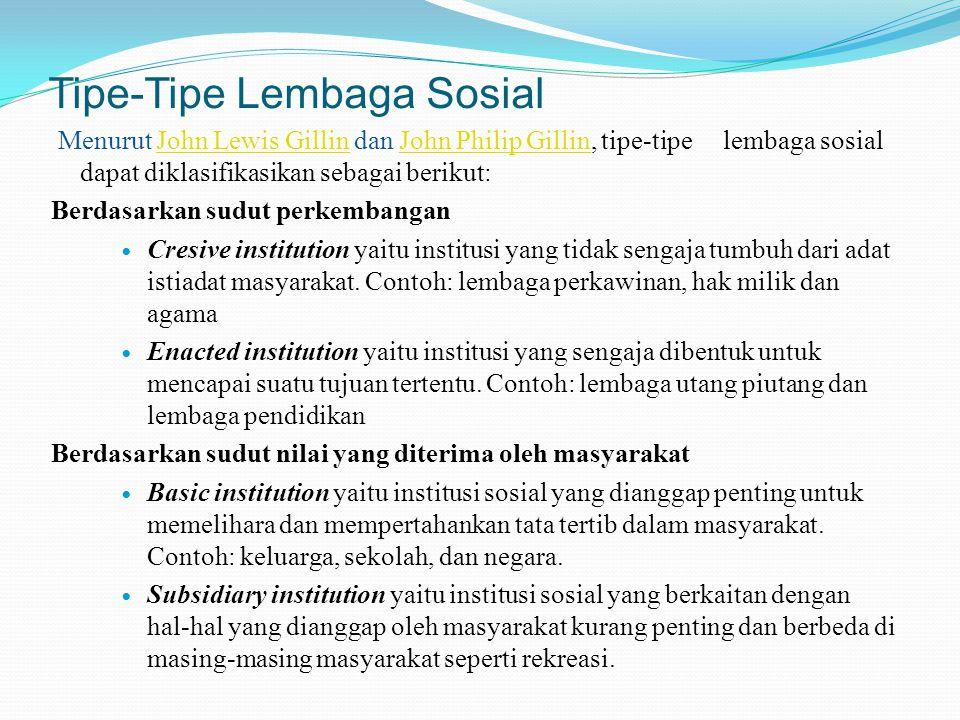 Tipe-Tipe Lembaga Sosial Menurut John Lewis Gillin dan John Philip Gillin, tipe-tipe lembaga sosial dapat diklasifikasikan sebagai berikut:John Lewis