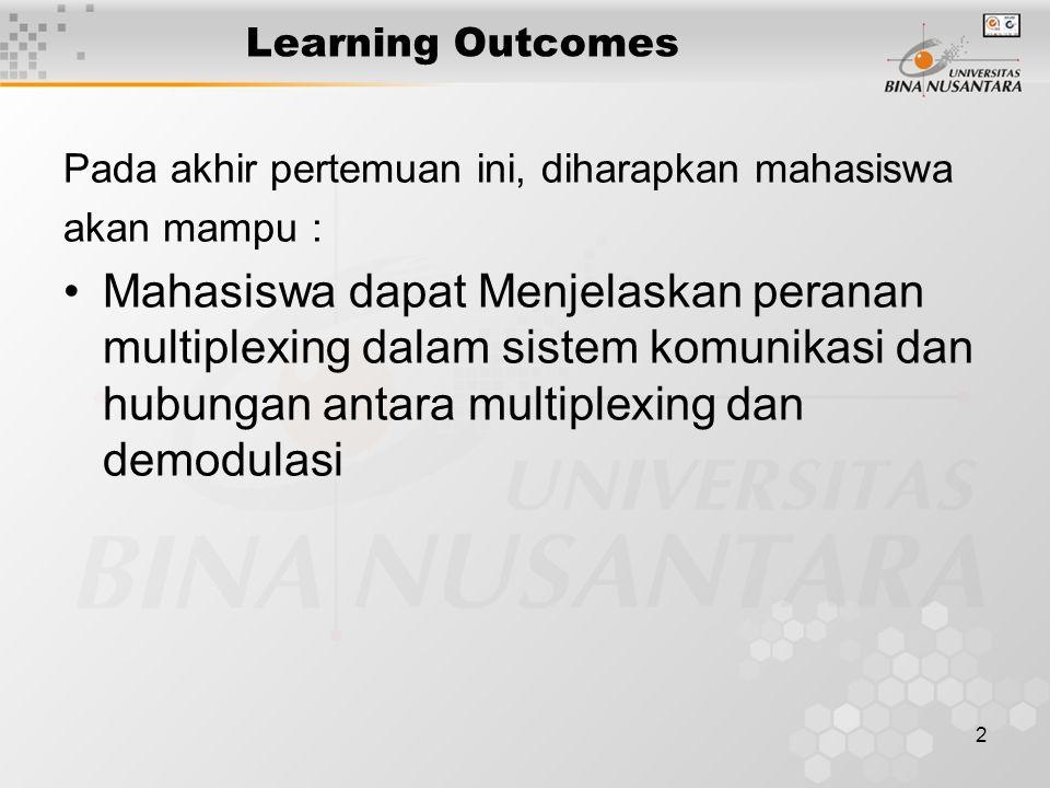 2 Learning Outcomes Pada akhir pertemuan ini, diharapkan mahasiswa akan mampu : Mahasiswa dapat Menjelaskan peranan multiplexing dalam sistem komunika