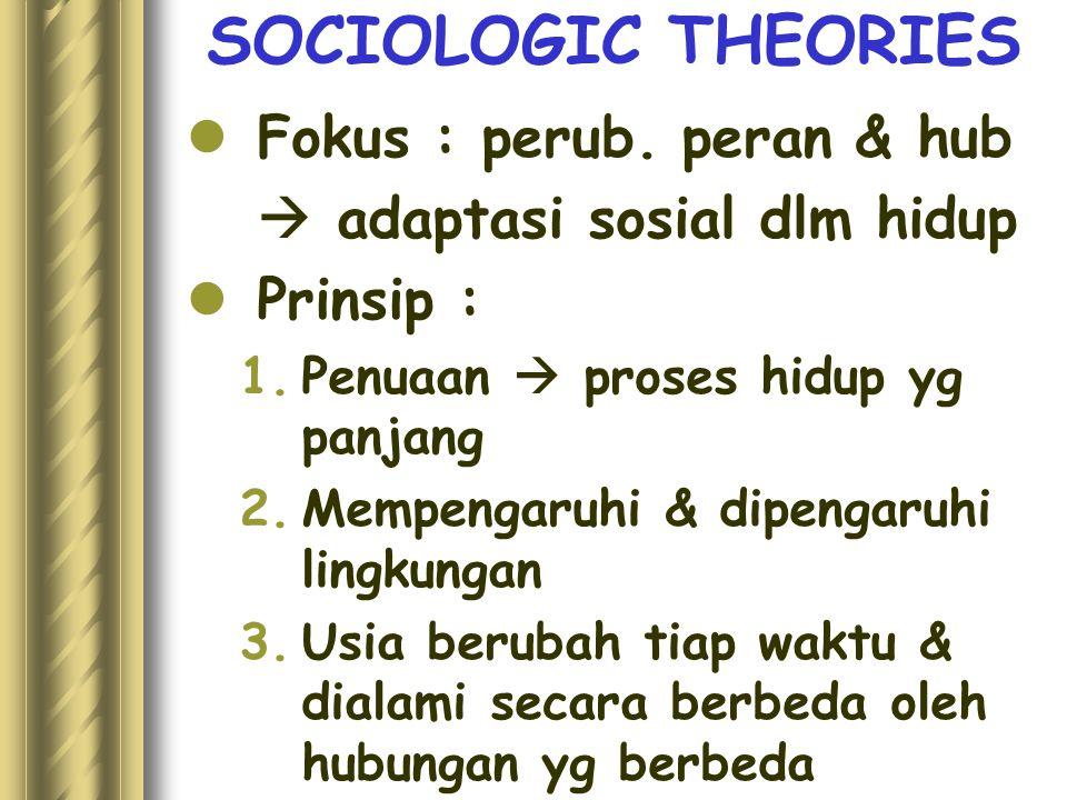 SOCIOLOGIC THEORIES Fokus : perub. peran & hub  adaptasi sosial dlm hidup Prinsip : 1.Penuaan  proses hidup yg panjang 2.Mempengaruhi & dipengaruhi