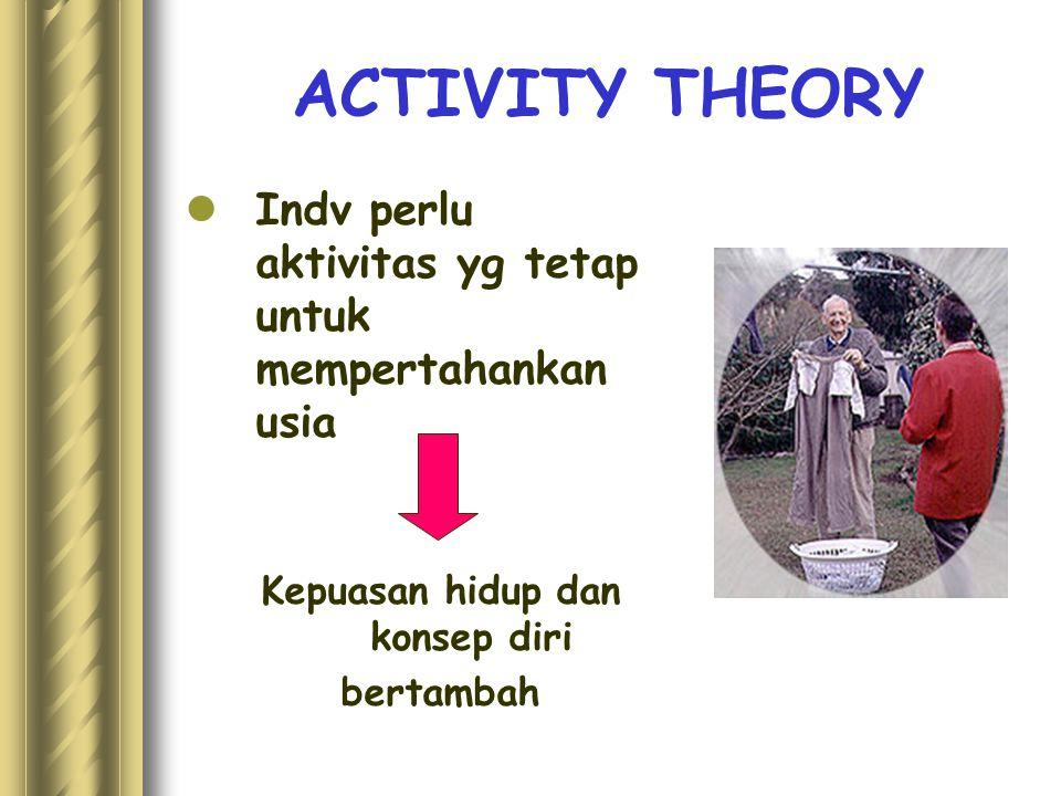 ACTIVITY THEORY Indv perlu aktivitas yg tetap untuk mempertahankan usia Kepuasan hidup dan konsep diri bertambah