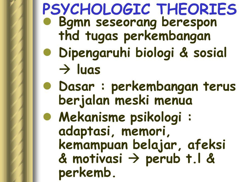 PSYCHOLOGIC THEORIES Bgmn seseorang berespon thd tugas perkembangan Dipengaruhi biologi & sosial  luas Dasar : perkembangan terus berjalan meski menua Mekanisme psikologi : adaptasi, memori, kemampuan belajar, afeksi & motivasi  perub t.l & perkemb.