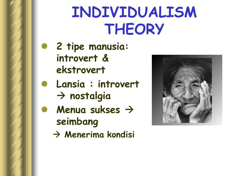 INDIVIDUALISM THEORY 2 tipe manusia: introvert & ekstrovert Lansia : introvert  nostalgia Menua sukses  seimbang  Menerima kondisi