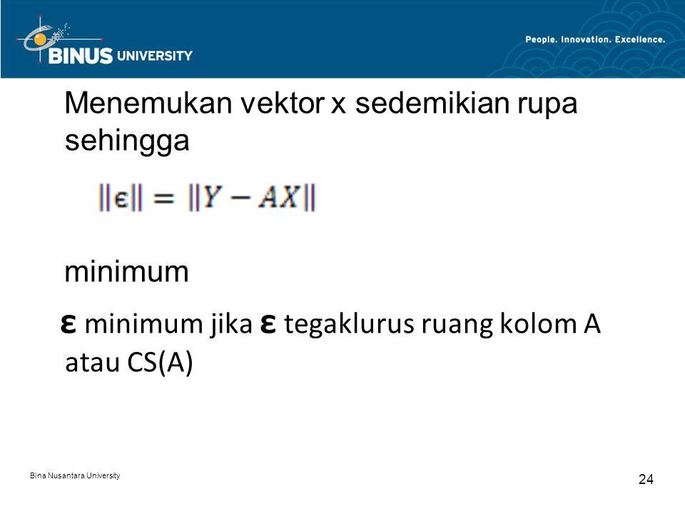 Menemukan vektor x sedemikian rupa sehingga minimum ε minimum jika ε tegaklurus ruang kolom A atau CS(A) Bina Nusantara University 24