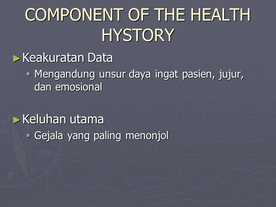 COMPONENT OF THE HEALTH HYSTORY ► Keakuratan Data  Mengandung unsur daya ingat pasien, jujur, dan emosional ► Keluhan utama  Gejala yang paling menonjol