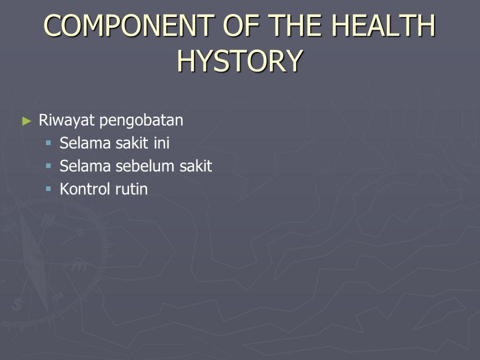 COMPONENT OF THE HEALTH HYSTORY ► ► Riwayat pengobatan   Selama sakit ini   Selama sebelum sakit   Kontrol rutin