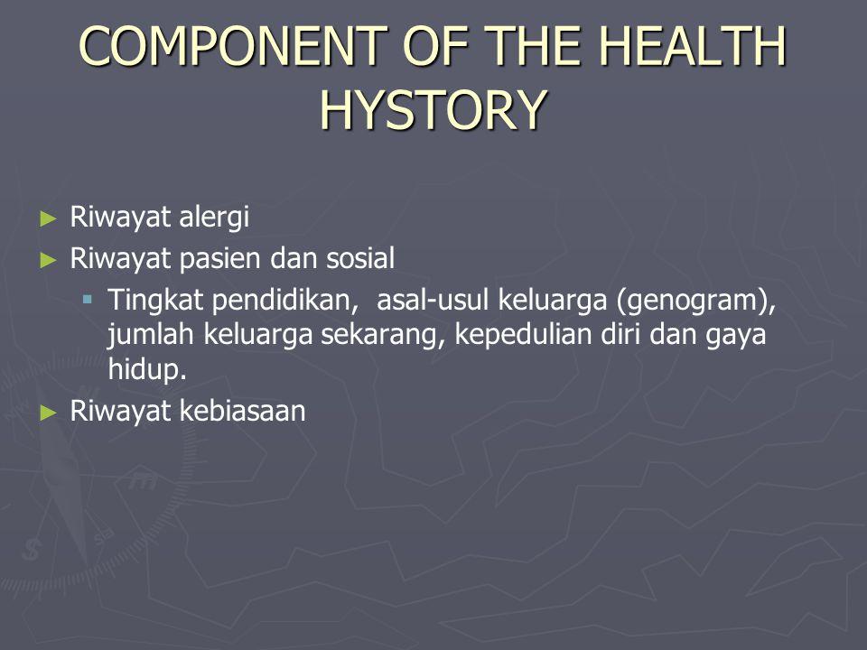 COMPONENT OF THE HEALTH HYSTORY ► ► Riwayat alergi ► ► Riwayat pasien dan sosial   Tingkat pendidikan, asal-usul keluarga (genogram), jumlah keluarga sekarang, kepedulian diri dan gaya hidup.