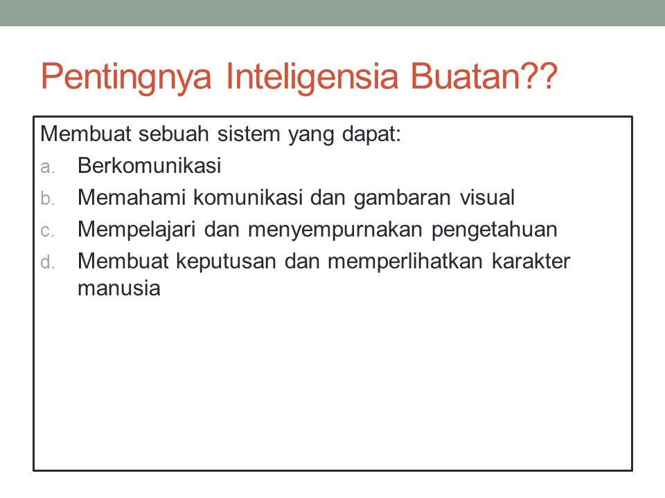 Pentingnya Inteligensia Buatan . Membuat sebuah sistem yang dapat: a.