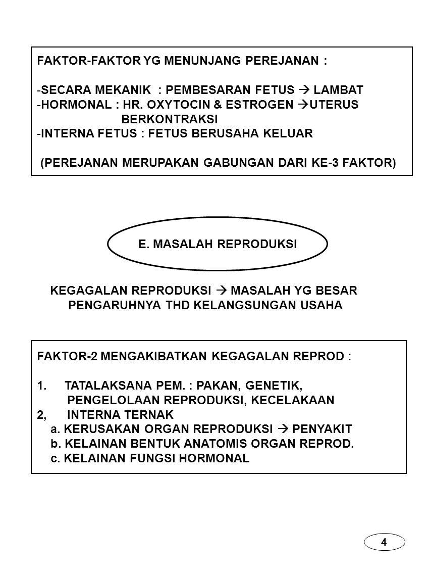 FAKTOR-FAKTOR YG MENUNJANG PEREJANAN : -SECARA MEKANIK : PEMBESARAN FETUS  LAMBAT -HORMONAL : HR. OXYTOCIN & ESTROGEN  UTERUS BERKONTRAKSI -INTERNA