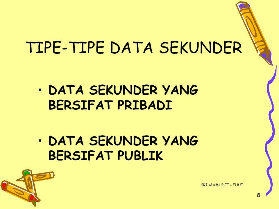 8 TIPE-TIPE DATA SEKUNDER DATA SEKUNDER YANG BERSIFAT PRIBADI DATA SEKUNDER YANG BERSIFAT PUBLIK SRI MAMUDJI - FHUI