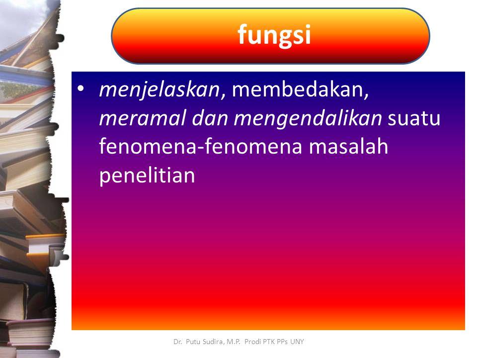 fungsi Dr. Putu Sudira, M.P. Prodi PTK PPs UNY menjelaskan, membedakan, meramal dan mengendalikan suatu fenomena-fenomena masalah penelitian