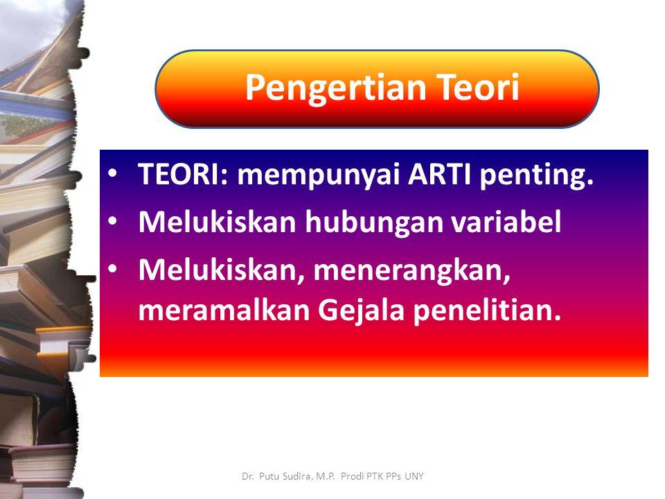 Pengertian Teori Dr. Putu Sudira, M.P. Prodi PTK PPs UNY TEORI: mempunyai ARTI penting. Melukiskan hubungan variabel Melukiskan, menerangkan, meramalk