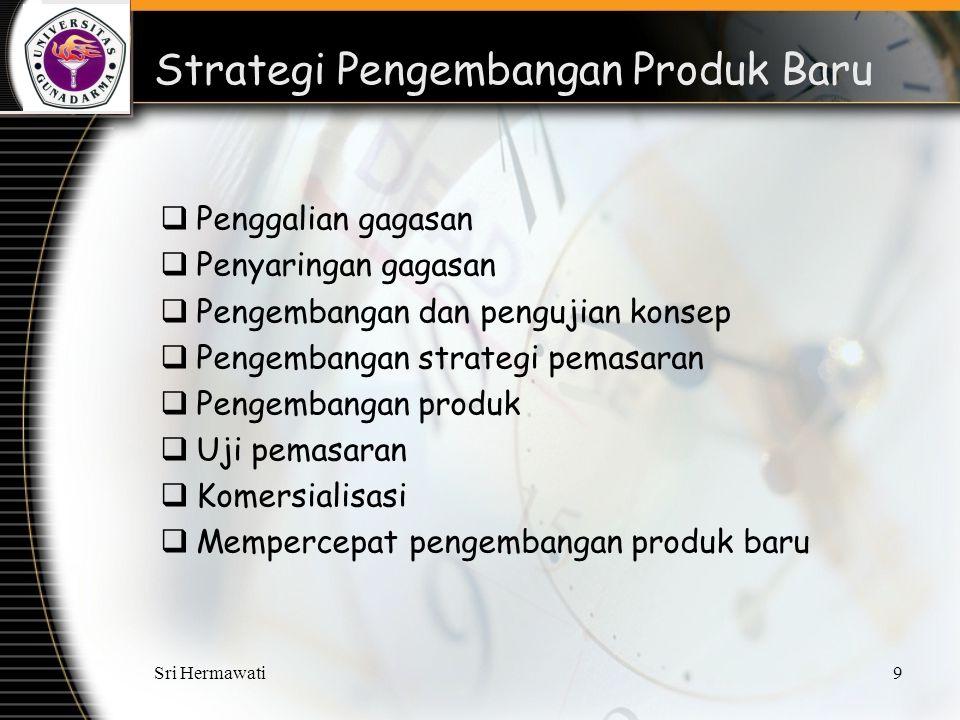 Sri Hermawati9 Strategi Pengembangan Produk Baru  Penggalian gagasan  Penyaringan gagasan  Pengembangan dan pengujian konsep  Pengembangan strategi pemasaran  Pengembangan produk  Uji pemasaran  Komersialisasi  Mempercepat pengembangan produk baru