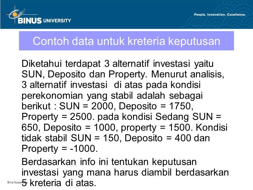 Bina Nusantara Contoh data untuk kreteria keputusan Diketahui terdapat 3 alternatif investasi yaitu SUN, Deposito dan Property. Menurut analisis, 3 al