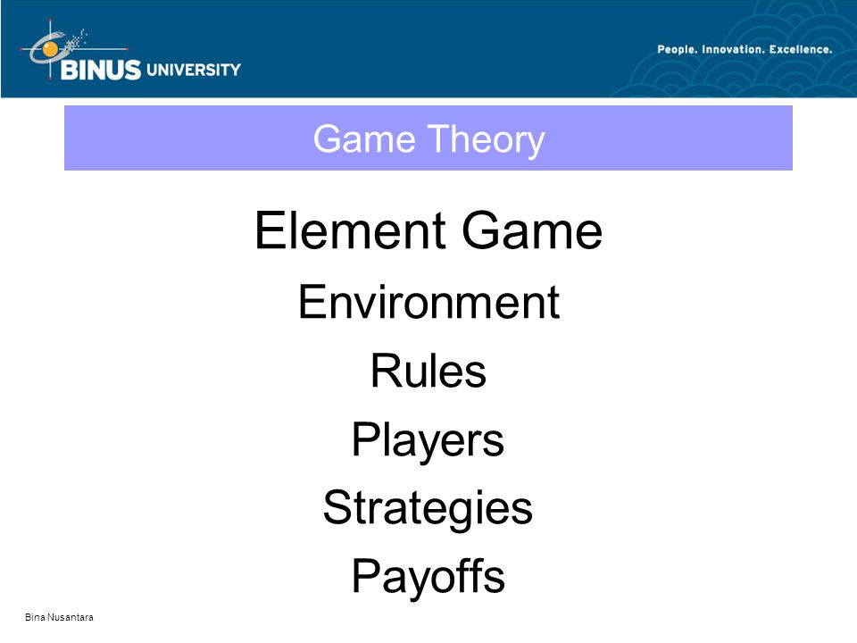 Bina Nusantara Game Theory Element Game Environment Rules Players Strategies Payoffs
