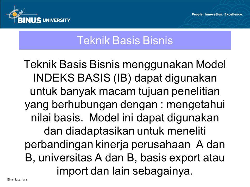 Bina Nusantara Teknik Basis Bisnis Teknik Basis Bisnis menggunakan Model INDEKS BASIS (IB) dapat digunakan untuk banyak macam tujuan penelitian yang b