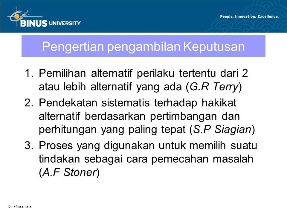 Bina Nusantara Pengertian pengambilan Keputusan 1.Pemilihan alternatif perilaku tertentu dari 2 atau lebih alternatif yang ada (G.R Terry) 2.Pendekata