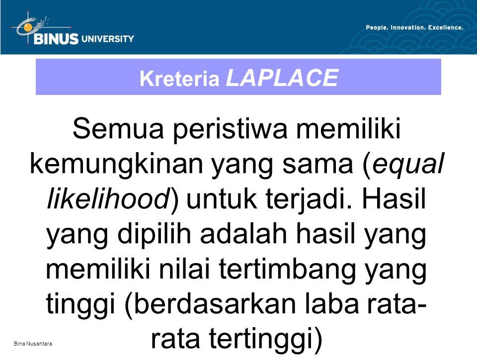 Bina Nusantara Kreteria LAPLACE Semua peristiwa memiliki kemungkinan yang sama (equal likelihood) untuk terjadi. Hasil yang dipilih adalah hasil yang