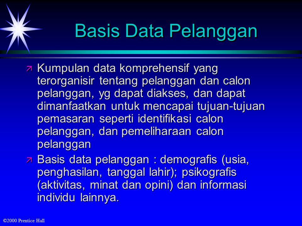 ©2000 Prentice Hall Basis Data Pelanggan ä Kumpulan data komprehensif yang terorganisir tentang pelanggan dan calon pelanggan, yg dapat diakses, dan d