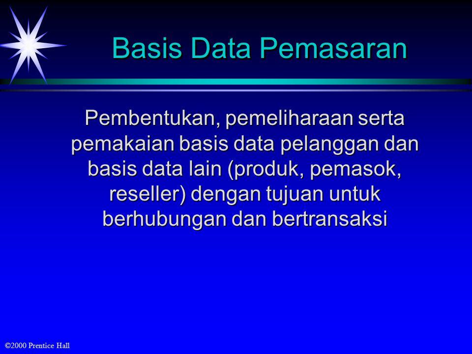 ©2000 Prentice Hall Basis Data Pemasaran Pembentukan, pemeliharaan serta pemakaian basis data pelanggan dan basis data lain (produk, pemasok, reseller) dengan tujuan untuk berhubungan dan bertransaksi