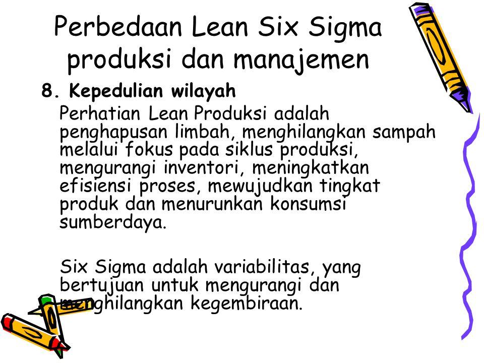 Perbedaan Lean Six Sigma produksi dan manajemen 8. Kepedulian wilayah Perhatian Lean Produksi adalah penghapusan limbah, menghilangkan sampah melalui