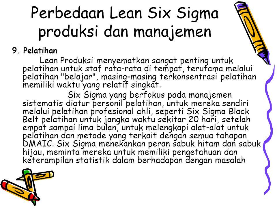 Perbedaan Lean Six Sigma produksi dan manajemen 9. Pelatihan Lean Produksi menyematkan sangat penting untuk pelatihan untuk staf rata-rata di tempat,