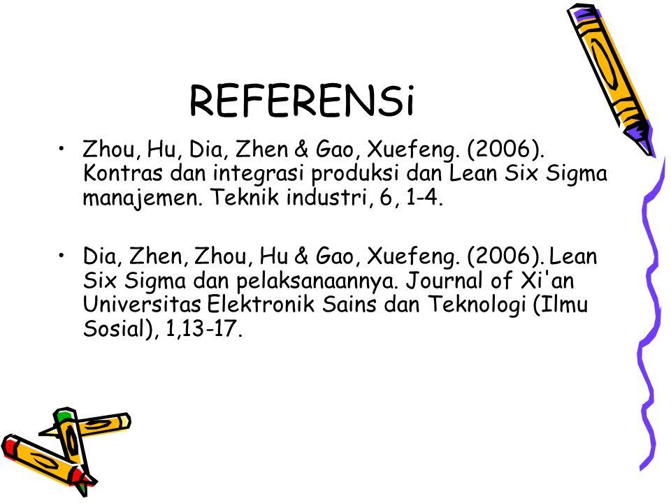 REFERENSi Zhou, Hu, Dia, Zhen & Gao, Xuefeng. (2006). Kontras dan integrasi produksi dan Lean Six Sigma manajemen. Teknik industri, 6, 1-4. Dia, Zhen,