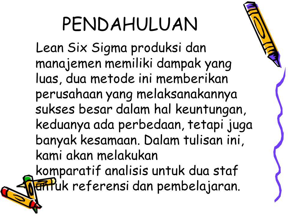PENDAHULUAN Lean Six Sigma produksi dan manajemen memiliki dampak yang luas, dua metode ini memberikan perusahaan yang melaksanakannya sukses besar da