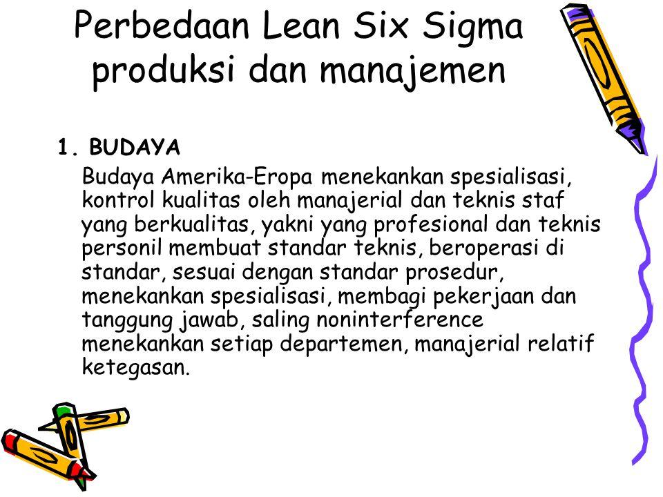 Perbedaan Lean Six Sigma produksi dan manajemen 1. BUDAYA Budaya Amerika-Eropa menekankan spesialisasi, kontrol kualitas oleh manajerial dan teknis st